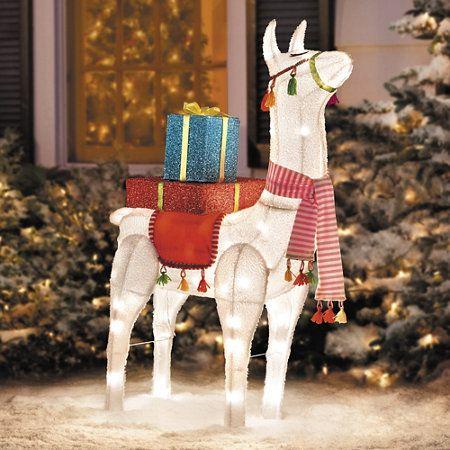 Festive Llama Lighted Outdoor Christmas Decoration Outdoor Christmas Decorations Christmas Decorations Outdoor Christmas