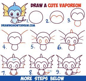 How To Draw Cute Kawaii Chibi Vaporeon From Pokemon Easy Step By