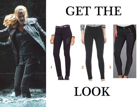 Divergent movie Dauntless clothes get the look: Tris' (Shailene Woodley) black and gray paneled pants
