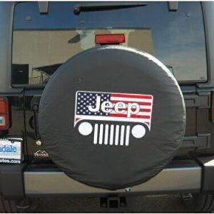Amooca Jeep American Flag Grille Spare Tire Cover Jeep Tire