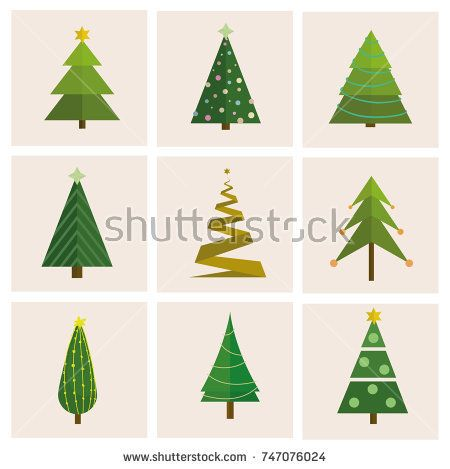 Set Of Different Vector Christmas Tree Can Be Used For Greeting Card Invitation Banner Web Design Christmas Vectors Christmas Tree Abstract