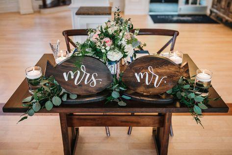 Cute sweetheart table at Jill + Jonathan's lakeside wedding in NJ | Photo: Matt Stallone Photography | Flowers: A Touch of Elegance Events #RockIslandLakeClub #sweethearttable #wedding #weddingdecor #weddinginspo #weddinginspiration #bride #bridetobe #mrandmrs #engaged #farmhousetable #elegantwedding #njwedding #njweddings #njweddingvenue #weddingvenue #lakesidewedding #lakewedding #waterfrontwedding