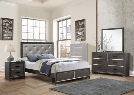 Lucy Collection Lu860qnmdr 4 Piece Bedroom Set With Queen Bed Nightstand Mirror And Dresser In 5 Piece Bedroom Set Bedroom Set Queen Beds