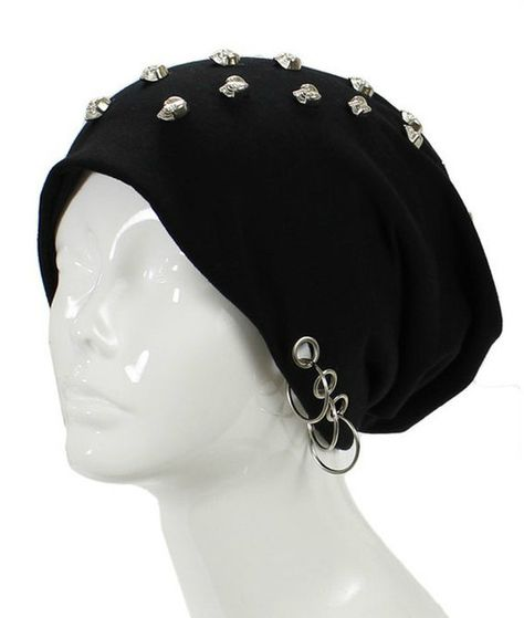 Unisex Goth Skull Studs Grommet Silver Ring Accent Beanie Hat - GoGetGlam  - 1