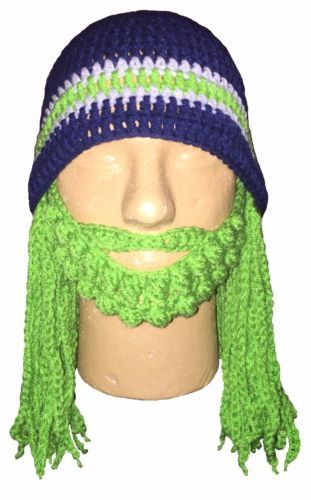 Seattle seahawks bearded beanie hat w  dreadlocks  blue hat  c82810eae52