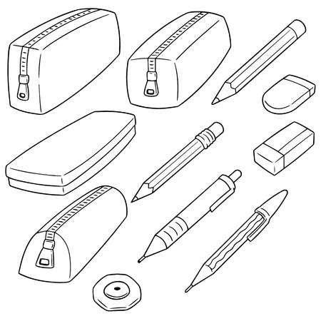 Set Of Pencil Case In Outline Style Illustration Pencil Case Note Doodles Pencil