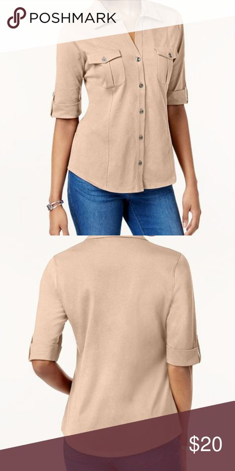 Style & Co Petite Jersey Utility Shirt Size: PS Color: Crushed Petal Style & Co Tops Tees - Short Sleeve