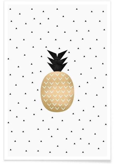 Golden Pineapple als Premium Poster von Elisabeth Fredriksson   JUNIQE