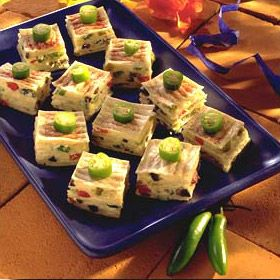 Mexican Confetti Squares Recipe from Land O'Lakes-aha! a cold appetizer recipe that is not pinwheels!