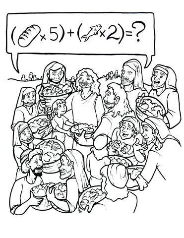 Jesus Feeds 5000 Coloring Page   RU - Idee