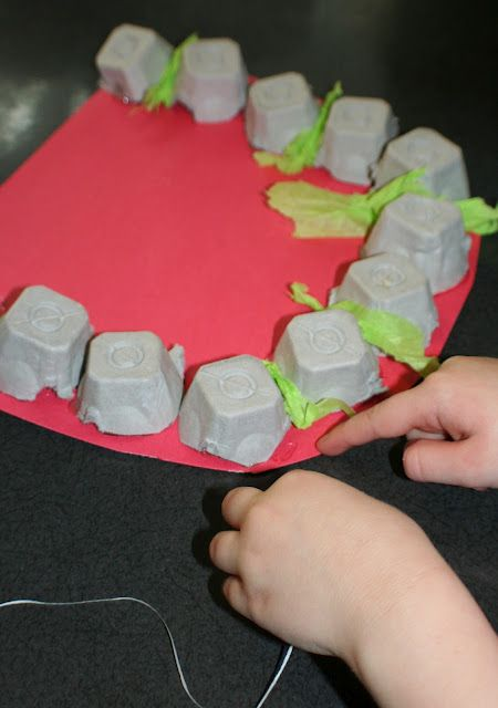 pop bottle bottom and egg cartons as teeth - learning about caring for your teeth.