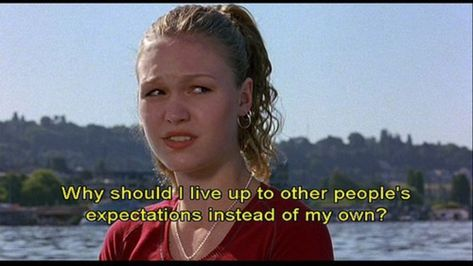 10 things I hate about you quote Julia Stiles Series Quotes, Tv Quotes, Mood Quotes, Funny Quotes, Qoutes, Iconic Movies, Good Movies, Good Movie Quotes, Favorite Movie Quotes