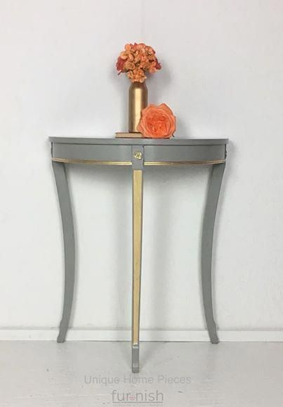 Half Moon Grey Gold Leaf Hallway Table Here For Sale Is This