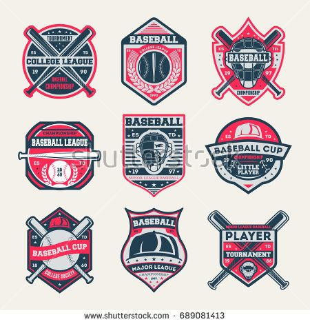 Baseball Championship Vintage Isolated Label Set Baseball League And Tournament Symbol Sport Colleague Society Icon Athletic Camp Logo Baseball Cup Estampas