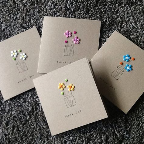 A lovely pack of Thank you cards with envelopes,hand embellished with a bunch of button flowers in hand drawn vases. Ideal for saying thank you to someone special. Each pack contains 4 cards, in 4 different colours. N.B. colours of buttons may vary depending on stock availability.