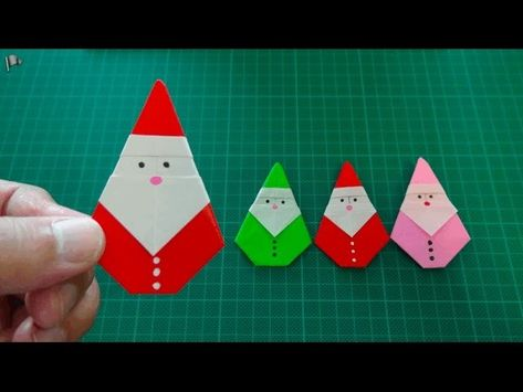 How to make an easy origami Santa Claus My paper: 15cm x 15cm Enjoy origami! Click here to see more my movies :)) ... . Origami, Christmas, Christmas,
