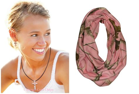 Realtree Pink Jewelry + Scarf Licensed Earrings Cross Necklace + Infinity Scarf #Realtree #Scarf