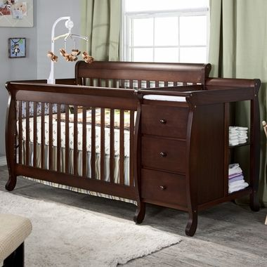 Love Love Love This Crib Changing Table Attached As Your Child Grows The Bed Converts To A Toddler Bed And With Images Crib With Changing Table Convertible Crib Cribs