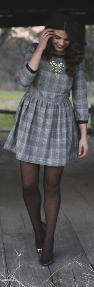 """Girly Tweed Dress. Love textured clothes. Says """"tweed"""" but it's actually a Glen Check pattern."""