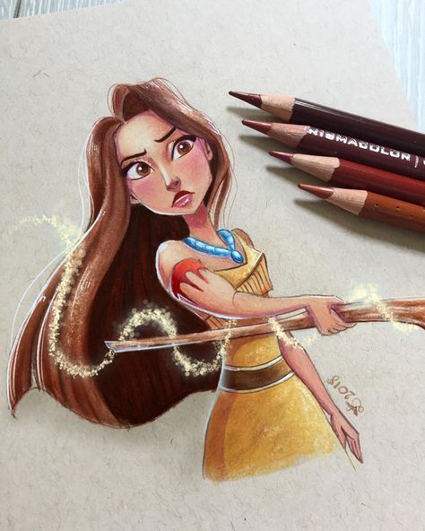 Pocahontas 🍂 I added a little touch of magic created by her wooden stick. (Ok, ok it's the perfect excuse to add glitter ✨... 😇). — —…
