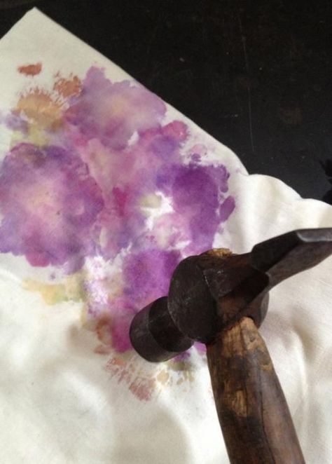 Katie Loves …the wow factor of this natural dye method! Use a hammer to pound out the colors from your favorite petals onto a piece of cotton or canvas.  Photo: Milliande Art Studio