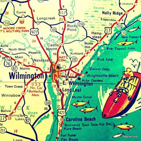 Wilmington Map Wilmington North Carolina Map Wall Art City Art