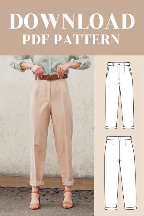 Pdf Sewing Patterns, Sewing Tutorials, Clothing Patterns, Fashion Sewing, Diy Fashion, Costura Fashion, How To Make Clothes, Diy Clothing, Sewing Clothes Women