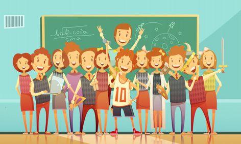 Classic school education classroom retro cartoon poster with