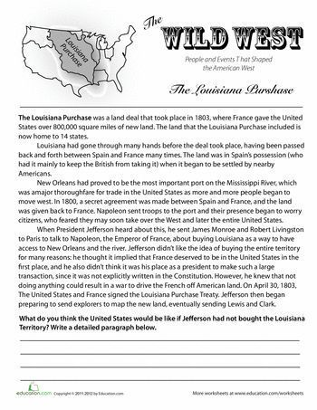 Worksheets History of the Louisiana Purchase 7th grade world history worksheets