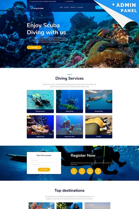 Diving Scuba - Underwater Landing Page Template #96285