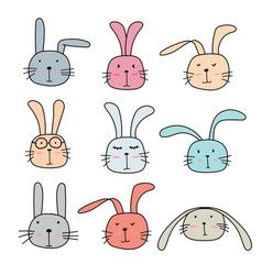 Pattern With Hand Drawn Cute Bunnies And Carrots Vector Image On Vectorstock Cute Animal Clipart Animal Doodles Bunny Drawing