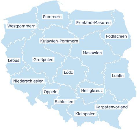 Karte Polen Polen Schlesien Landkarte