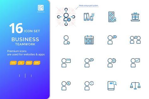 Icon set BUSINESS TEAMWORK outline fillcolor style (127892)   Icons   Design Bundles