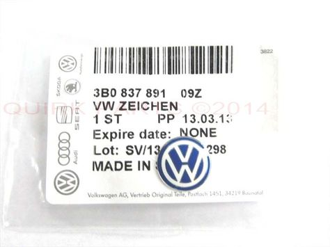 OEM 3B0-837-891-09Z Key Fob VW Emblem Replacement for Volkswagen New