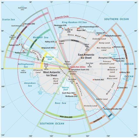 Political map of Antarctica. With the territory claims , #Ad ...