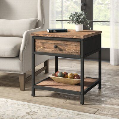 Farson End Table With Storage Living Room End Tables Living Room Side Table Rustic End Tables Decorative tables for living room