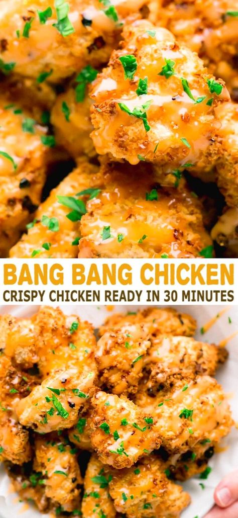 Bang Bang Chicken Recipe in Air Fryer - incredibly crispy air fried chicken nuggets. They taste AMAZING! Crispy, juicy and delicious, made in just 30 minutes. with chicken nuggets Bang Bang Chicken Bang Bang Chicken, Air Fryer Dinner Recipes, Air Fryer Recipes Easy, Air Fryer Chicken Recipes, Recipes Dinner, Corn Dogs, Comida Filipina, Fried Chicken Nuggets, Chicken