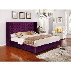 Purple Queen Size Button Tufted Shelter Full Set 51005 63pl With