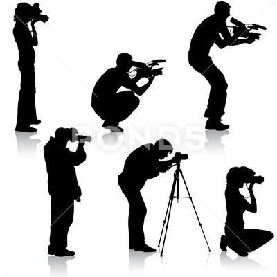Set Cameraman With Video Camera Silhouettes On White Background Vector Il Clip Art 71397499