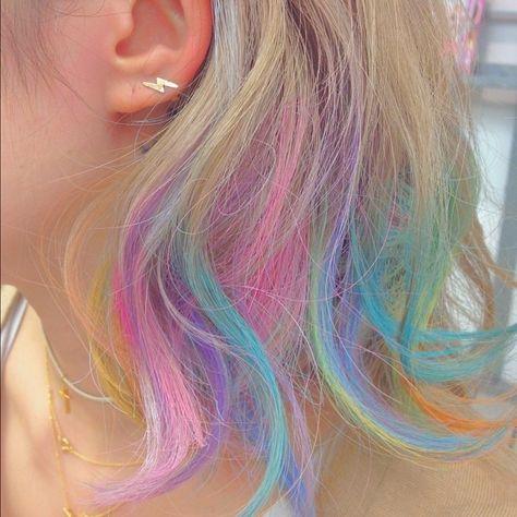 Cool Short Hairstyles, Pretty Hairstyles, Short Hair Styles, Dyed Ends Of Hair, Dye My Hair, Colored Hair Ends, Dip Dye Hair Brunette, Blonde Hair, Hair Chalk