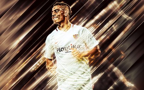Download wallpapers Wissam Ben Yedder, 4k, creative art, blades style, Sevilla, French footballer, La Liga, Spain, red creative background, football, Sevilla FC