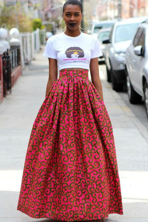 Blend Your Style With Tank Tops And Ankara Long Skirt. Unique Ankara styles are waiting for you! In this season there are even more bright colours, quality fabrics, and unusual [. African Inspired Fashion, African Print Fashion, Africa Fashion, Fashion Prints, African Prints, African Women Fashion, African Fashion Skirts, Ankara Fashion, Skirt Fashion