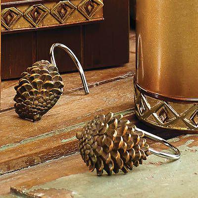 Pine Cone Diamond Shower Curtain Hooks Shower Curtain Hooks