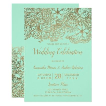 Mint Green Gold Floral Typography Chic Wedding Invitation