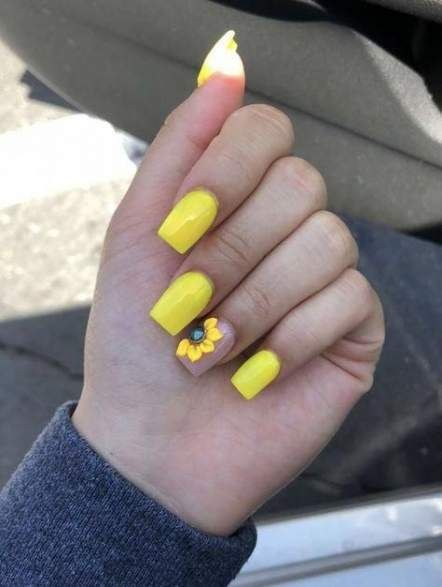 Nails Acrylic Coffin Short For Kids 53 Ideas For 2019 Yellow Nails Design Sunflower Nails Yellow Nails