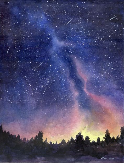 Watercolor Painting Print, Starry Sky Print, Starry Night Painting Print, Watercolor Sky, landscape painting