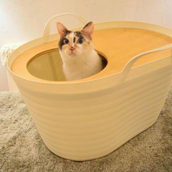 猫トイレバケツ 天板無し 上から入る猫トイレuppifran わた菓子ホワイト 猫 トイレ 猫の家具 猫