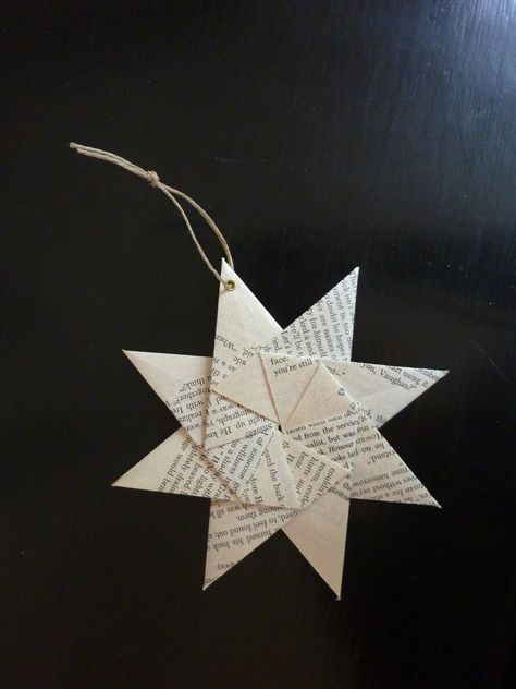 Origami Star Ornament From Recycled Book Pages Glitter Set