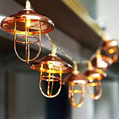 Amazon Com 2pack 3 5 Ft 10 Led String Lights With Rose Gold Metal Vintage Lantern Cage Battery Operated Fairy Geometric Lighting Vintage Lanterns Fairy Lights