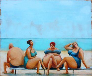 "Saatchi+Art+Artist+Agnese+Kurzemniece;+Painting,+""Leisure+(draft)""+#art"
